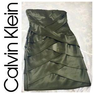🔴Calvin Klein strapless taffeta cocktail dress